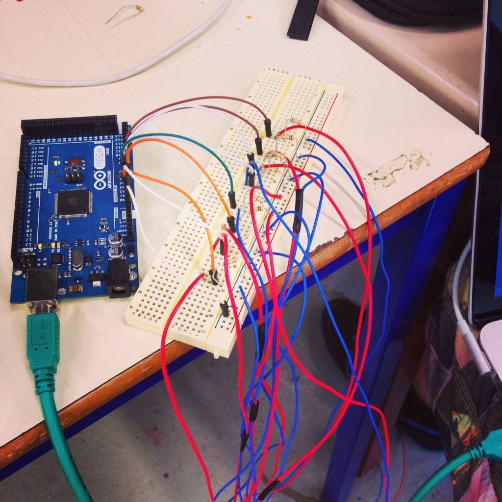 Hooking up the piezos to the Arduino
